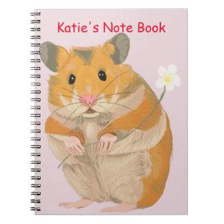 Caderno Espiral Hamster pequeno bonito que guardara uma flor