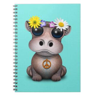 Caderno Espiral Hippie bonito do hipopótamo do bebê