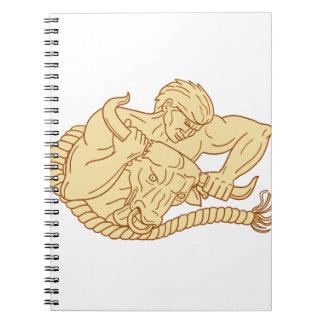 Caderno Espiral Homem que toma Bull pela tiragem dos chifres