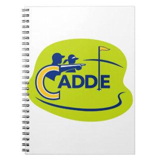 Caderno Espiral Ícone do campo de golfe do Caddie e do jogador de
