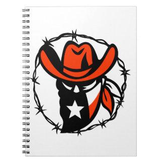 Caderno Espiral Ícone foragido do fio de Barb da bandeira de Texas