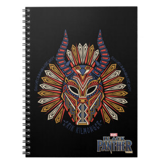 Caderno Espiral Ícone tribal preto da máscara da pantera | Erik