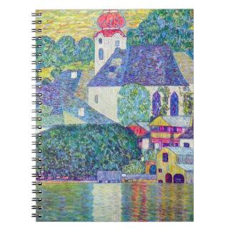 Caderno Espiral Igreja de Wolfgang da rua por Klimt