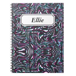 Caderno Espiral Ilusão óptica das listras onduladas roxas