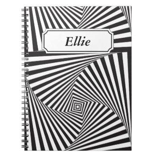 Caderno Espiral Ilusão óptica espiral branca preta bonita