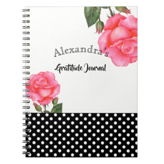 Caderno Espiral Ilustração botânica do rosa do rosa da aguarela