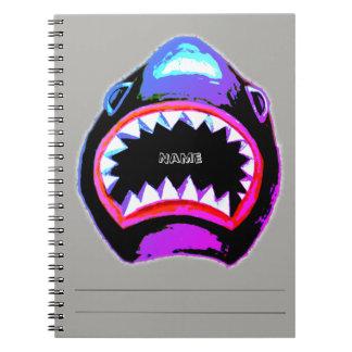 Caderno Espiral Ilustração cor-de-rosa e roxa da aguarela do