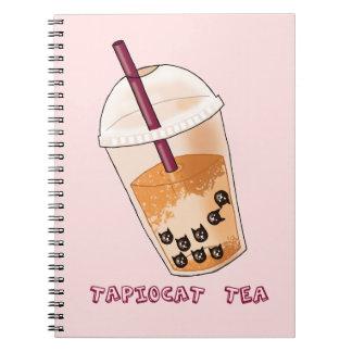 Caderno Espiral Ilustração da chalaça do chá de Tapiocat