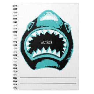 Caderno Espiral Ilustração do verde da aguarela do tubarão