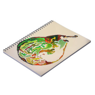 Caderno Espiral Ilustração do watercolour da fruta da pera