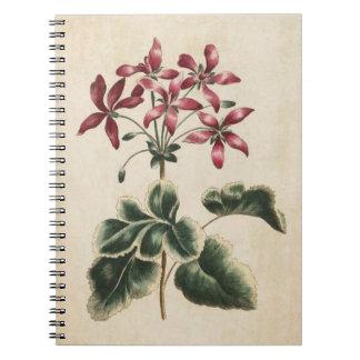 Caderno Espiral Ilustração floral botânica do gerânio do vintage