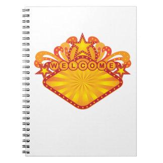 Caderno Espiral Ilustração retro do sinal de boas-vindas do famoso