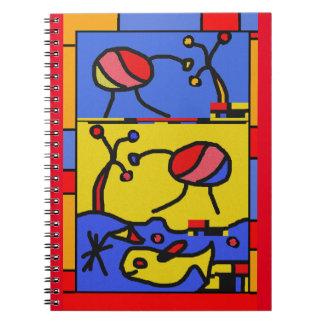 Caderno Espiral Imagem com arte moderna dos peixes