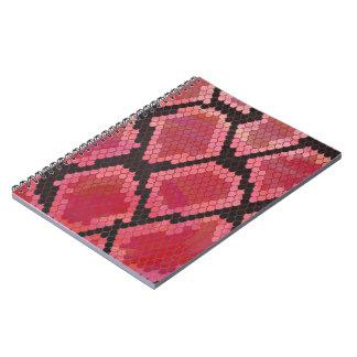 Caderno Espiral Impressão preto e vermelho do cobra