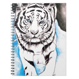 Caderno Espiral Inverno branco do tigre Siberian