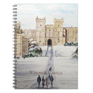 Caderno Espiral Inverno na pintura de paisagem do castelo de