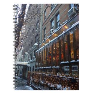Caderno Espiral Inverno superior NYC da Nova Iorque dos sincelos