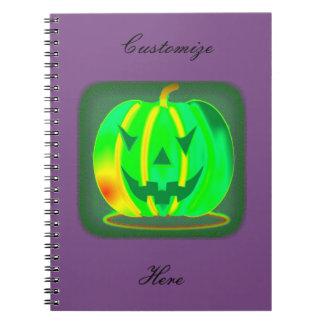 Caderno Espiral Jack verde o Dia das Bruxas o'lantern Thunder_Cove