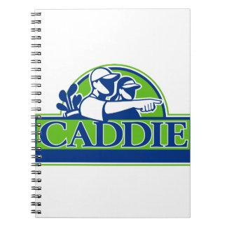Caderno Espiral Jogador de golfe profissional e Caddie retros