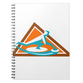Caderno Espiral Jogador de ondulação que desliza o ícone de pedra