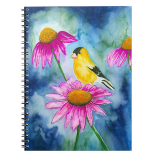 Caderno Espiral Jornal do goldfinch da aguarela e da flor do cone