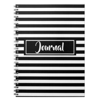 Caderno Espiral Jornal listrado das listras preto e branco simples