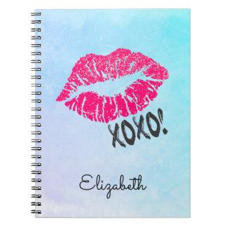 Caderno Espiral Lábios cor-de-rosa à moda de Kissy com xoxo!