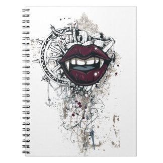 Caderno Espiral lábios de dracula do vintage