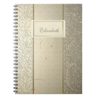Caderno Espiral Laço chique elegante do damasco