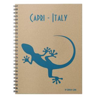 Caderno Espiral Lagarto azul, geko - Faraglioni, Capri, Italia