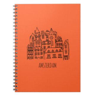 Caderno Espiral Laranja holandesa da lembrança da cidade de
