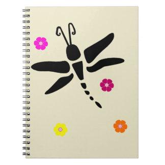 Caderno Espiral libélula e flores