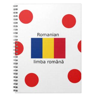 Caderno Espiral Língua e design romenos da bandeira de Romania