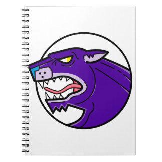 Caderno Espiral Linha da rosnadura da pantera preta mono