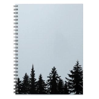 Caderno Espiral Linha de árvore rústica silhueta