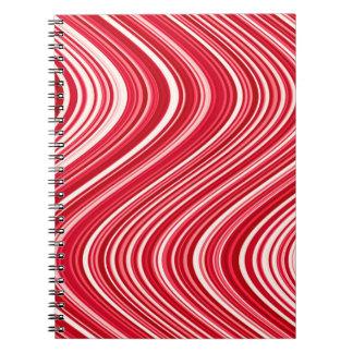 Caderno Espiral Linhas onduladas em vermelho e no branco - ESFRIE