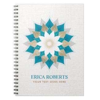 Caderno Espiral Linho elegante da ioga da flor de Lotus do ouro &