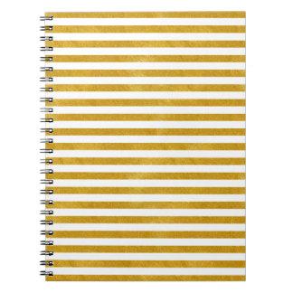 Caderno Espiral Listra elegante do ouro - costume sua cor