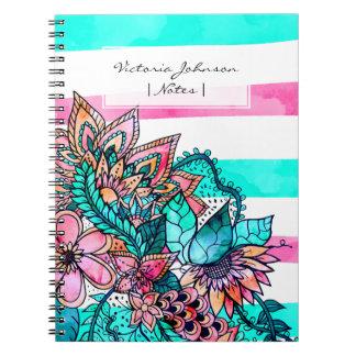 Caderno Espiral Listras cor-de-rosa femininos da cerceta da