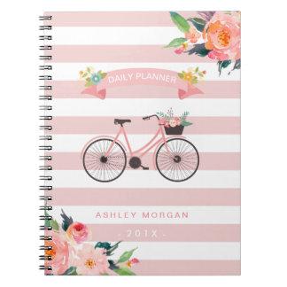 Caderno Espiral Listras cor-de-rosa femininos florais da bicicleta