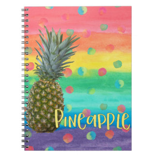 Caderno Espiral Listras na moda e pontos do arco-íris do abacaxi