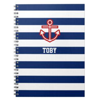 Caderno Espiral Listras náuticas feitas sob encomenda do branco
