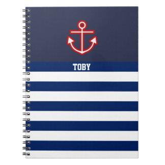 Caderno Espiral Listras náuticas feitas sob encomenda do branco do