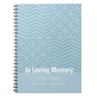 Caderno Espiral Livro de hóspedes azul geométrico do funeral da