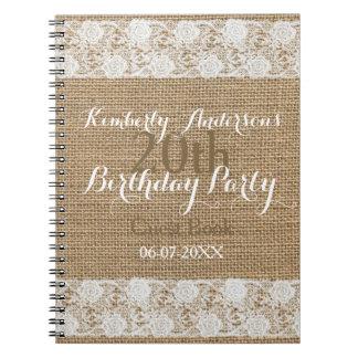 Caderno Espiral Livro de hóspedes do aniversário de serapilheira