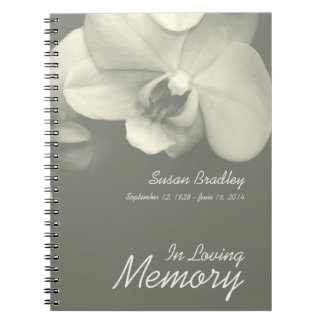 Caderno Espiral Livro de hóspedes floral do funeral da fotografia