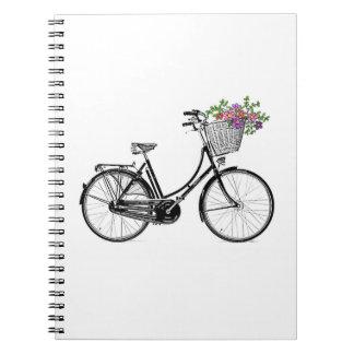 Caderno Espiral Livro de nota da bicicleta do vintage