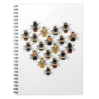 Caderno Espiral Livro de nota do coração da abelha