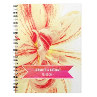 Caderno Espiral Livro listrado do planejador do casamento da flor