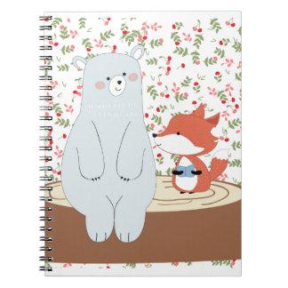 Caderno Espiral Lobo bonito da raposa do verão do primavera do